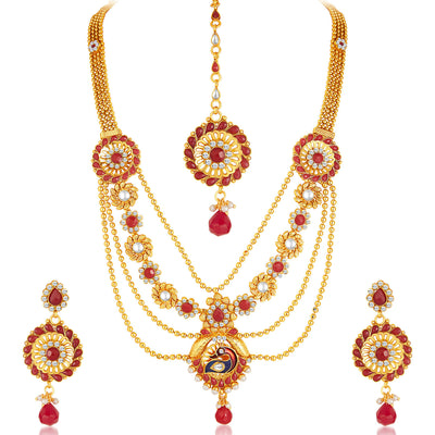Sukkhi - Kritika Kamra Shimmering Gold Plated 4 Strings Peacock Necklace Set