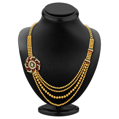 Sukkhi Excellent Four Strings Gold Plated Necklace Set-2
