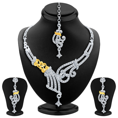 Sukkhi Fine Gold and Rhodium Plated AD Necklace Set