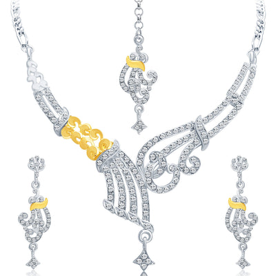 Sukkhi Fine Gold and Rhodium Plated AD Necklace Set-1
