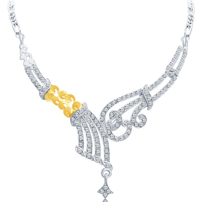 Sukkhi Fine Gold and Rhodium Plated AD Necklace Set-3