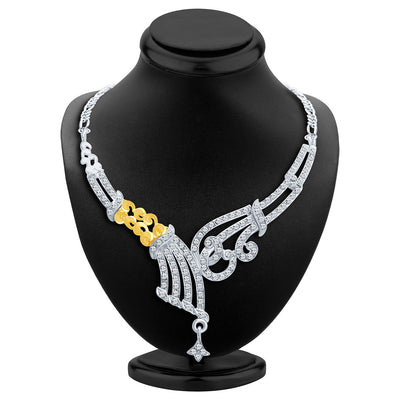 Sukkhi Fine Gold and Rhodium Plated AD Necklace Set-2