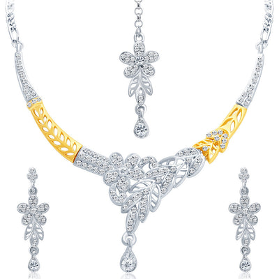 Sukkhi Pretty Gold and Rhodium Plated AD Necklace Set-1