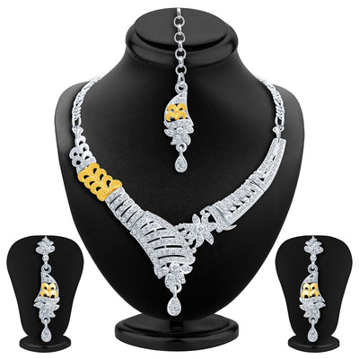 Sukkhi Glistening Gold and Rhodium Plated AD Necklace Set