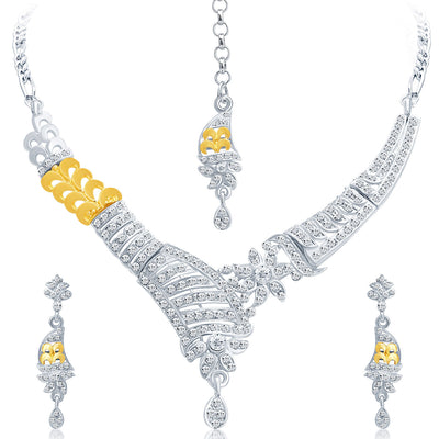 Sukkhi Glistening Gold and Rhodium Plated AD Necklace Set-1