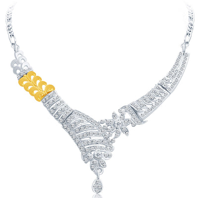 Sukkhi Glistening Gold and Rhodium Plated AD Necklace Set-3