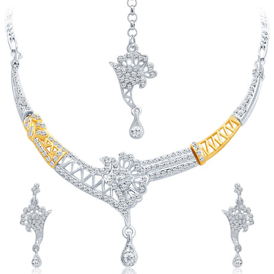 Sukkhi Alluring Gold and Rhodium Plated AD Necklace Set-1
