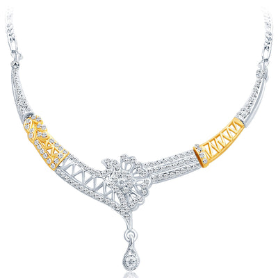 Sukkhi Alluring Gold and Rhodium Plated AD Necklace Set-3