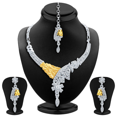 Sukkhi Classic Gold and Rhodium Plated AD Necklace Set
