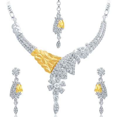 Sukkhi Classic Gold and Rhodium Plated AD Necklace Set-1