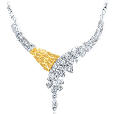 Sukkhi Classic Gold and Rhodium Plated AD Necklace Set-3