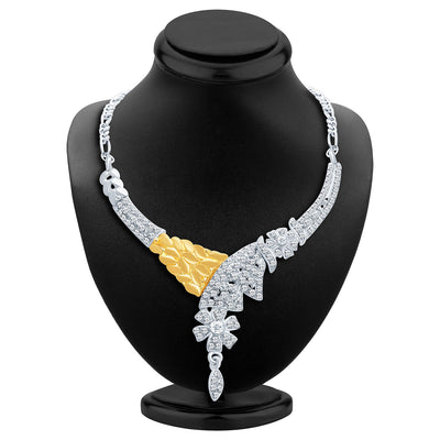 Sukkhi Classic Gold and Rhodium Plated AD Necklace Set-2