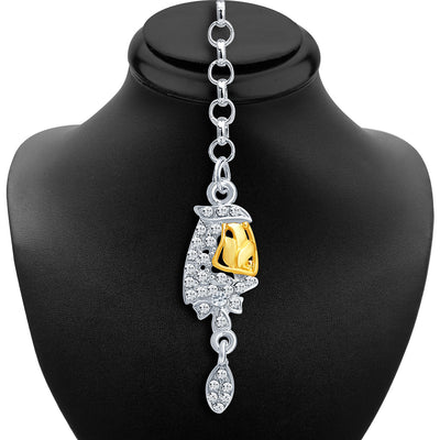 Sukkhi Classic Gold and Rhodium Plated AD Necklace Set-6
