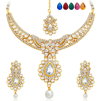 Sukkhi Delightly Gold Plated AD Necklace Set with Set of 5 Changeable Stone-1