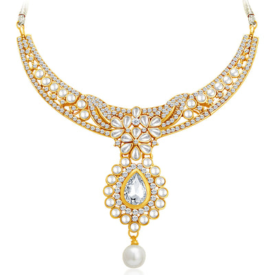 Sukkhi Delightly Gold Plated AD Necklace Set with Set of 5 Changeable Stone-3
