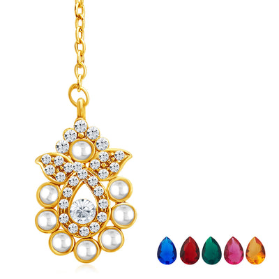 Sukkhi Delightly Gold Plated AD Necklace Set with Set of 5 Changeable Stone-7
