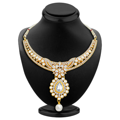 Sukkhi Delightly Gold Plated AD Necklace Set with Set of 5 Changeable Stone-2