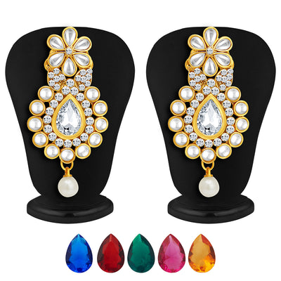Sukkhi Delightly Gold Plated AD Necklace Set with Set of 5 Changeable Stone-4