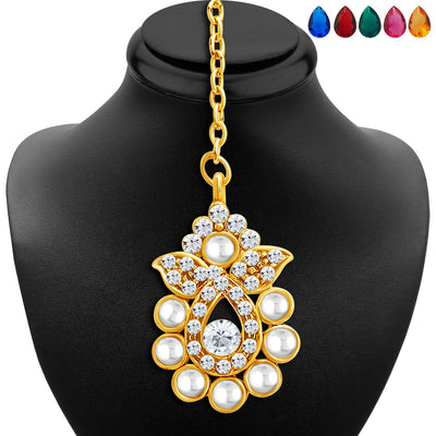Sukkhi Delightly Gold Plated AD Necklace Set with Set of 5 Changeable Stone-6