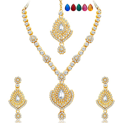 Sukkhi Graceful Gold Plated AD Necklace Set with Set of 5 Changeable Stone-1