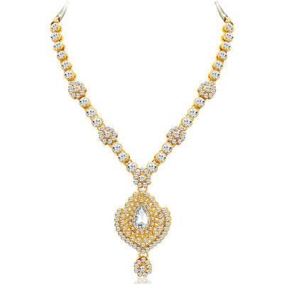 Sukkhi Graceful Gold Plated AD Necklace Set with Set of 5 Changeable Stone-3
