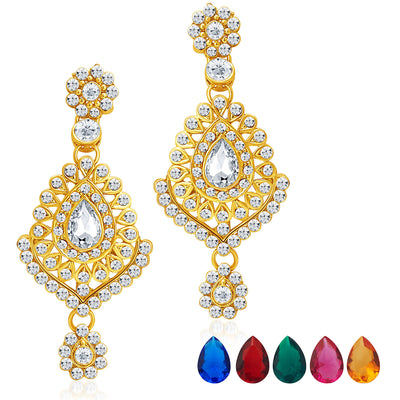 Sukkhi Graceful Gold Plated AD Necklace Set with Set of 5 Changeable Stone-5