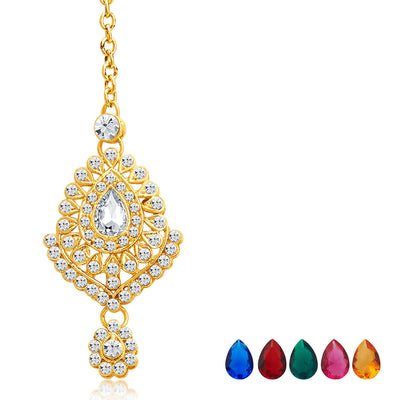 Sukkhi Graceful Gold Plated AD Necklace Set with Set of 5 Changeable Stone-7