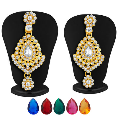 Sukkhi Graceful Gold Plated AD Necklace Set with Set of 5 Changeable Stone-4