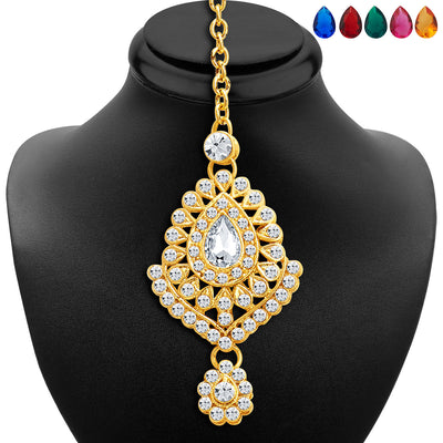 Sukkhi Graceful Gold Plated AD Necklace Set with Set of 5 Changeable Stone-6
