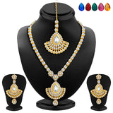 Sukkhi Glorious Gold Plated AD Necklace Set with Set of 5 Changeable Stone