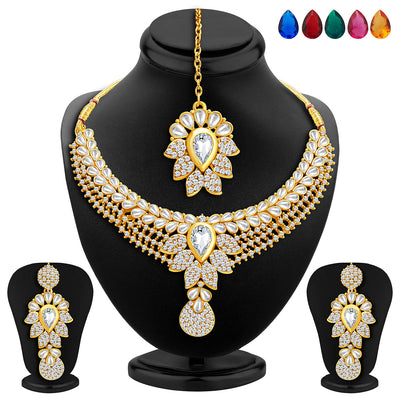 Sukkhi Royal Gold Plated AD Set of 2 Necklace Set with Set of 10 Changeable Stone Combo For Women-2
