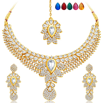 Sukkhi Royal Gold Plated AD Set of 2 Necklace Set with Set of 10 Changeable Stone Combo For Women-3