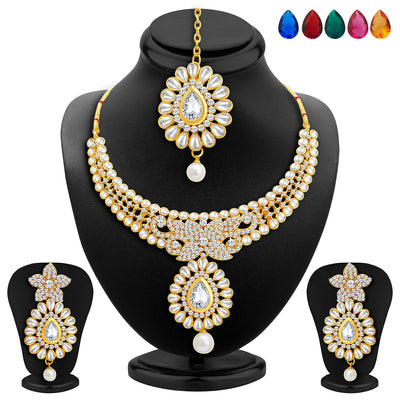 Sukkhi Royal Gold Plated AD Set of 2 Necklace Set with Set of 10 Changeable Stone Combo For Women-4