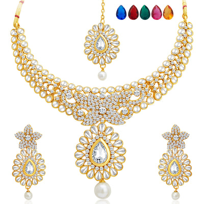 Sukkhi Royal Gold Plated AD Set of 2 Necklace Set with Set of 10 Changeable Stone Combo For Women-5
