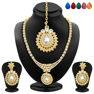 Sukkhi Beguiling Gold Plated AD Necklace Set with Set of 5 Changeable Stone