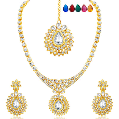 Sukkhi Beguiling Gold Plated AD Necklace Set with Set of 5 Changeable Stone-1