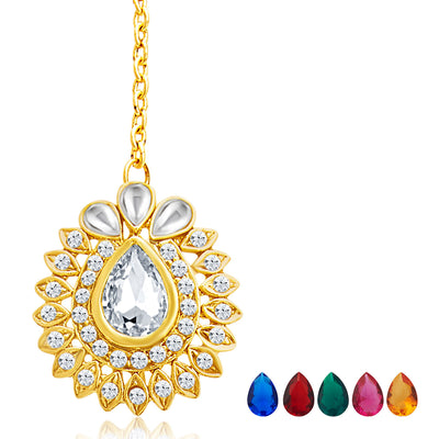 Sukkhi Beguiling Gold Plated AD Necklace Set with Set of 5 Changeable Stone-7