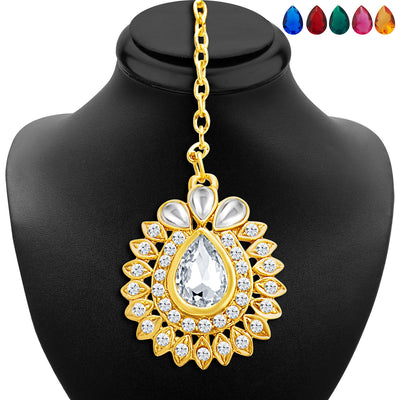 Sukkhi Beguiling Gold Plated AD Necklace Set with Set of 5 Changeable Stone-6