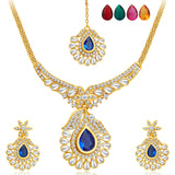 Sukkhi Resplendent Gold Plated AD Necklace Set with Set of 5 Changeable Stone-1