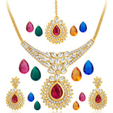 0035 Sukkhi Pack of 15 Changeable Stone Attractive Gold Plated AD Necklace Set