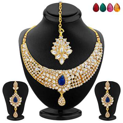 Sukkhi Ethnic Gold Plated AD Set of 2 Necklace Set With Set of 10 Changeable Stone Combo For Women-4