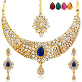 Sukkhi Stylish Gold Plated AD Necklace Set with Set of 5 Changeable Stone-1