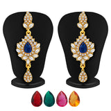 Sukkhi Stylish Gold Plated AD Necklace Set with Set of 5 Changeable Stone-4