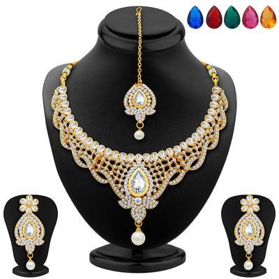 Sukkhi Divine Gold Plated AD Necklace Set with Set of 5 Changeable Stone