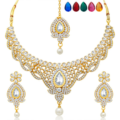 Sukkhi Divine Gold Plated AD Necklace Set with Set of 5 Changeable Stone-1