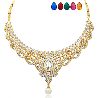 Sukkhi Divine Gold Plated AD Necklace Set with Set of 5 Changeable Stone-3