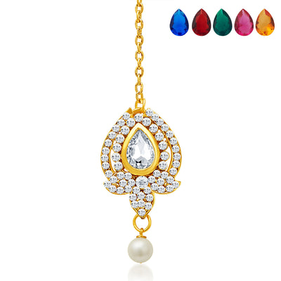 Sukkhi Divine Gold Plated AD Necklace Set with Set of 5 Changeable Stone-7