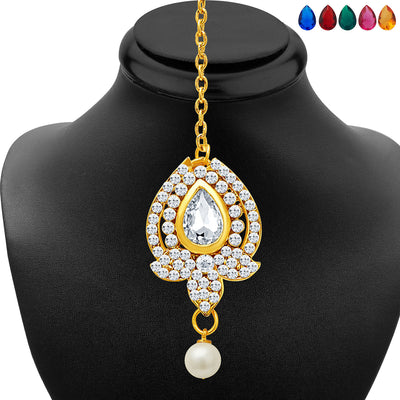 Sukkhi Divine Gold Plated AD Necklace Set with Set of 5 Changeable Stone-6