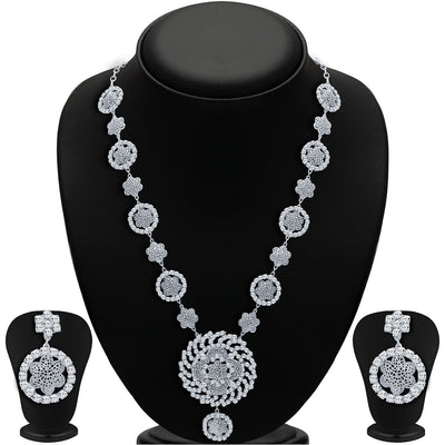 Sukkhi Sparkling Rhodium Plated AD Necklace Set