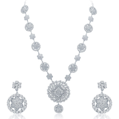 Sukkhi Sparkling Rhodium Plated AD Necklace Set-1